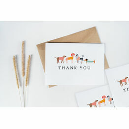 Pack of 10 Illustrated Dog Themed Thank You Note Cards