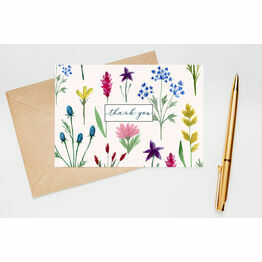 Pack of 10 Wild Flowers Floral Thank You Note Cards