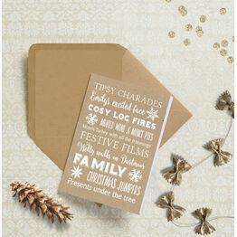 Personalised Typography Christmas Cards - Kraft