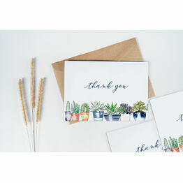 Pack of 10 Cactus Succulents Plants Thank You Note Cards