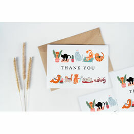 Pack of 10 Illustrated Cat Themed Thank You Note Cards