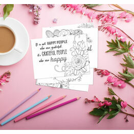 Pack of 10 Gratitude Themed Thank You Note Cards to Colour In