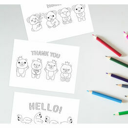 Pack of 10 Kids Colouring Thank You Note Cards