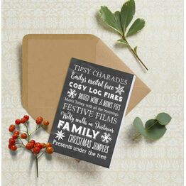 Personalised Typography Christmas Cards - Chalkboard