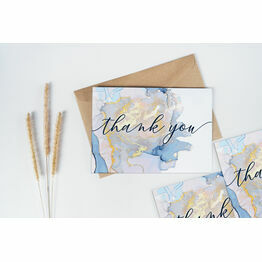 Pack of 10 Marble Pastel Blue & Gold Thank You Note Cards