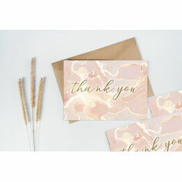 Pack of 10 Marble Blush Pink & Rose Gold Thank You Note Cards