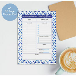Working From Home Daily Planner Productivity Desk Pad - Blue Watercolour