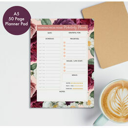 Working From Home Daily Planner Productivity Desk Pad - Purple Floral