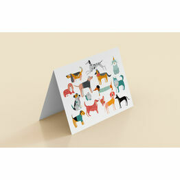 Illustrated Dogs Blank Folded Notecards