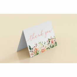 Blush Pink Floral Folded Thank You Cards