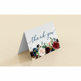 Navy and Burgundy Floral Thank You Cards