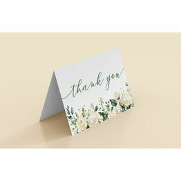 White & Green Floral Folded Thank You Cards