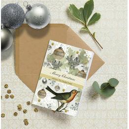 Vintage Robin Personalised Christmas Cards
