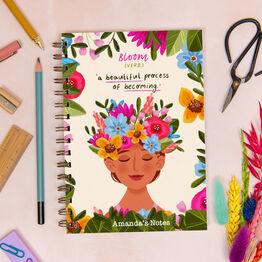 Bloom Floral Woman Personalised Luxury Notebook