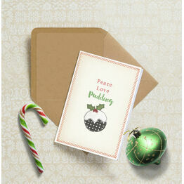 'Peace, Love, Pudding' Personalised Christmas Cards