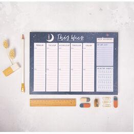 Peaceful Night Weekly Planner Desk Pad