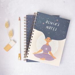 Peaceful Night Personalised Woman Star Hair Lined Notebook