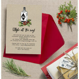 'GINgle all the way' Personalised Christmas Party Invitations