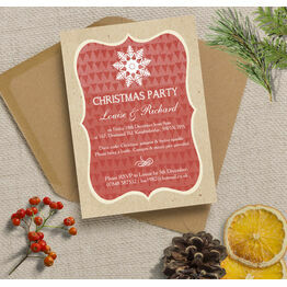Rustic Red & Kraft Snowflake Personalised Christmas Party Invitations - Printed or Printable