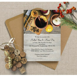 Mulled Wine & Mince Pies Personalised Christmas Party Invitations