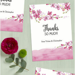 Personalised Cherry Blossom Thank You Cards