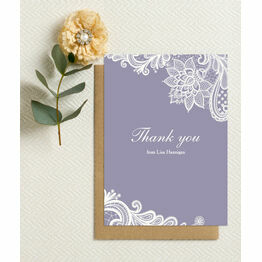 Personalised Lilac & White Lace Thank You Cards - Printable or Printed