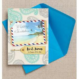Exotic Beach Postcard Wedding Invitation