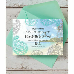 Exotic Beach Postcard Save the Date