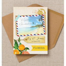 Florida Beach Postcard Wedding Invitation