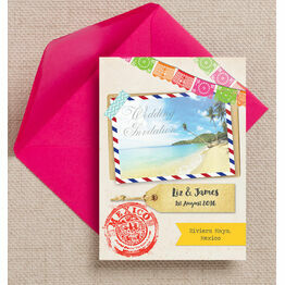 Mexico Beach Postcard Wedding Invitation