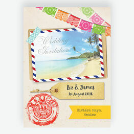 Mexico Beach Postcard Wedding Invitation