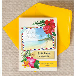 Tropical Beach Flowers Postcard Wedding Invitation