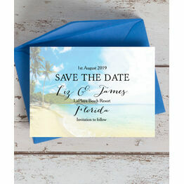 Tropical Beach Postcard Save the Date