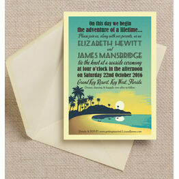 Tropical Beach Sunset Wedding Invitation