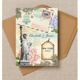 Vintage New York Postcard Wedding Invitation
