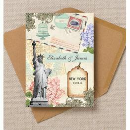 Vintage New York Postcard Wedding Invitation