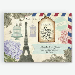 Vintage Paris Postcard Save the Date