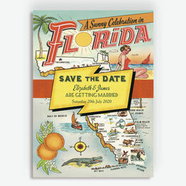 Retro Florida Wedding Save the Date
