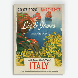 Retro Travel Postcard Wedding Save the Date