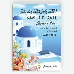 Vintage Santorini Postcard Wedding Save the Date