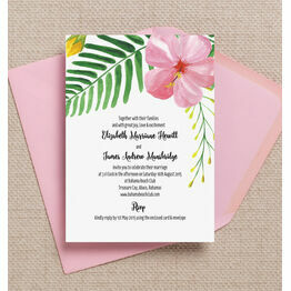 Tropical Flower Destination Wedding Invitation