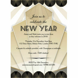 Black and Gold Art Deco New Years Eve Party Invitation