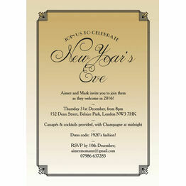 Gold Art Deco New Years Eve Party Invitation
