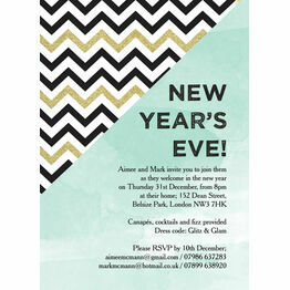Mint Green and Gold New Years Eve Party Invitation