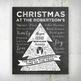Personalised Chalkboard Christmas Tree Print