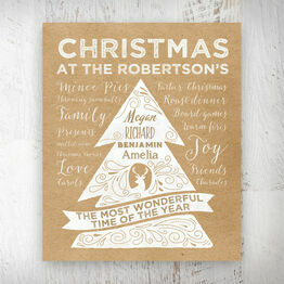 Personalised Rustic Kraft Christmas Tree Print