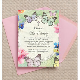 Butterfly Garden Christening / Baptism Invitation