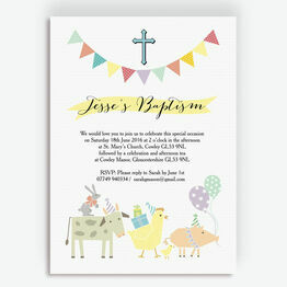 Farmyard Animals Christening / Baptism Invitation