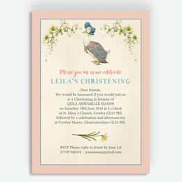 Jemima Puddle-Duck Christening / Baptism Invitation