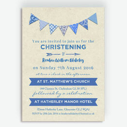 Vintage Blue Bunting Christening / Baptism Invitation